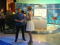 Tony talking to Rachel Riley